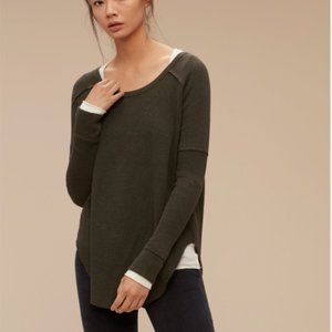 Aritzia TNA olive Adler thermal waffle oversized slouchy long sleeve top size S